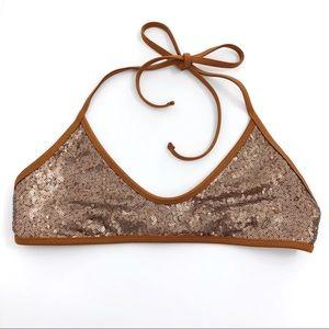 AMUSE SOCIETY Angie Sequin Bralette Bikini Top S